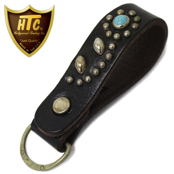 正規取扱店 HTC(Hollywood Trading Company) #32 Flower TQ D-Ring キーホルダー ブラックレザーxシルバースタッズxターコイズ