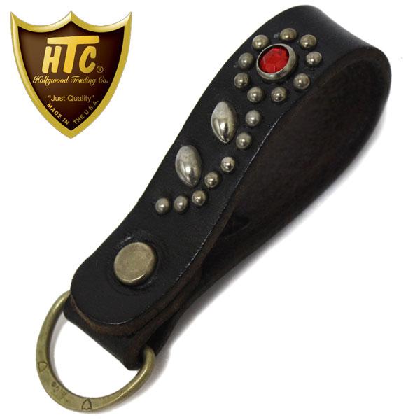 正規取扱店 HTC(Hollywood Trading Company) #32 Flower Stone D-Ring キーホルダー ブラックレザーxシルバースタッズxレッドストーン