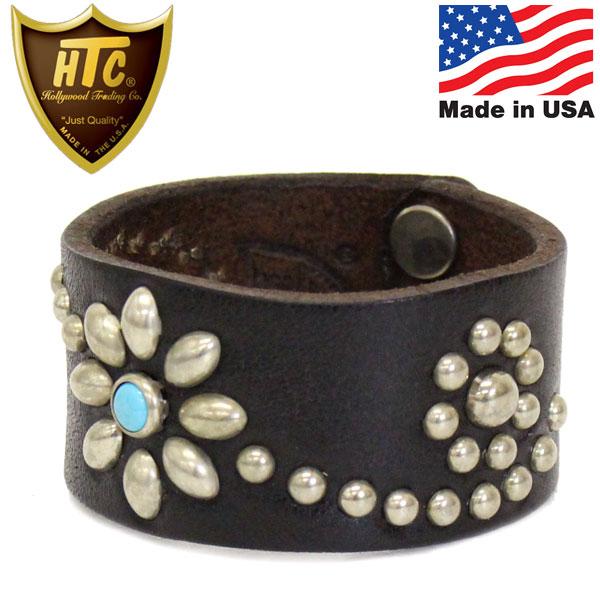 正規取扱店 HTC(Hollywood Trading Company) Bracelet #25 Turquoise 1.25インチ ブレスレット ブラックレザーxシルバースタッズxターコイズ