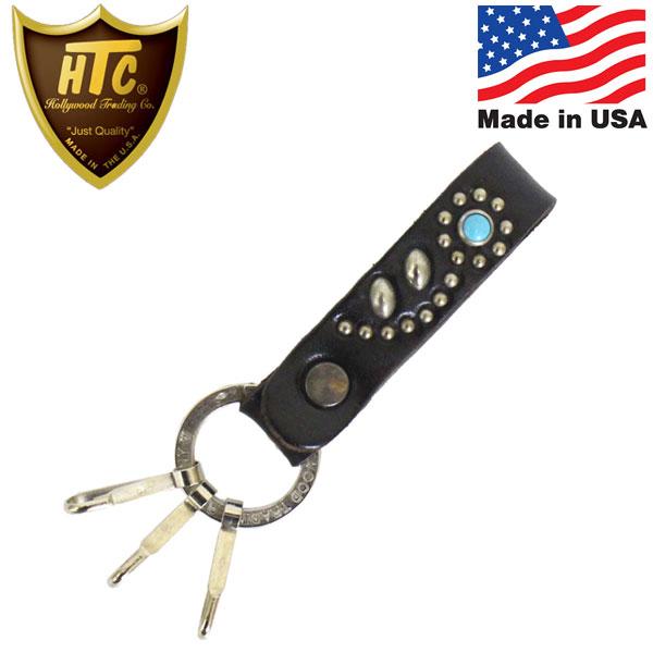 正規取扱店 HTC(Hollywood Trading Company) HTC N&J Ring Key Holder #32 Turquoise キーホルダー ブラックレザーxシルバースタッズxターコイズ
