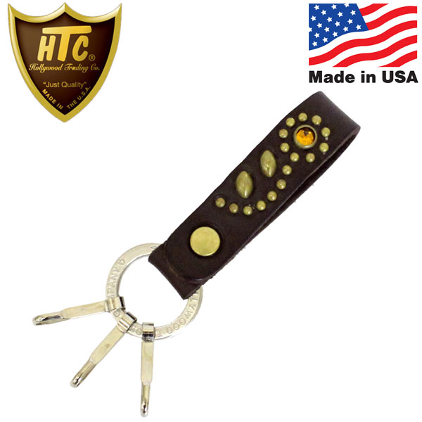 正規取扱店 HTC(Hollywood Trading Company) HTC N&J Ring Key Holder #32 Stone キーホルダー ダークブラウンレザーxブラススタッズxイエローストーン