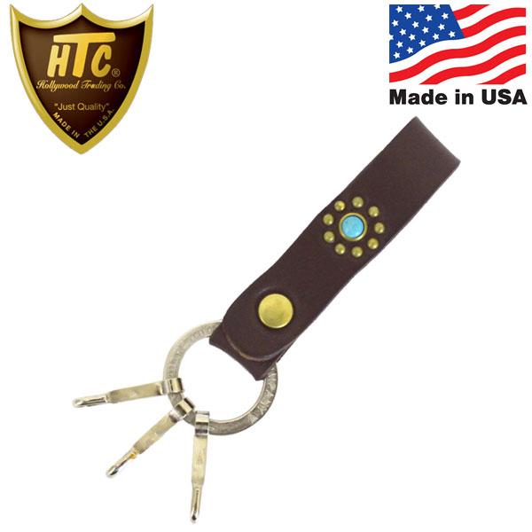 正規取扱店 HTC(Hollywood Trading Company) N&J Ring Key Holder Turquoise キーホルダー ダークブラウンレザーxブラススタッズxターコイズ