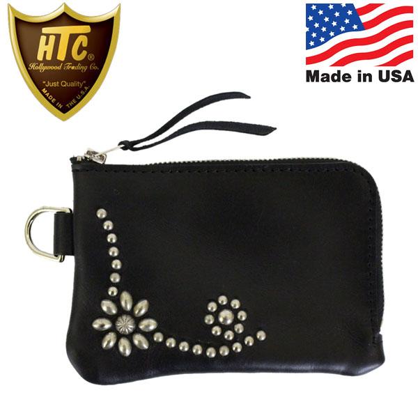 正規取扱店 HTC(Hollywood Trading Company) Corner Zipper Purse #25 Umbrella CN L字ジップウォレット ブラックレザーxシルバースタッズ