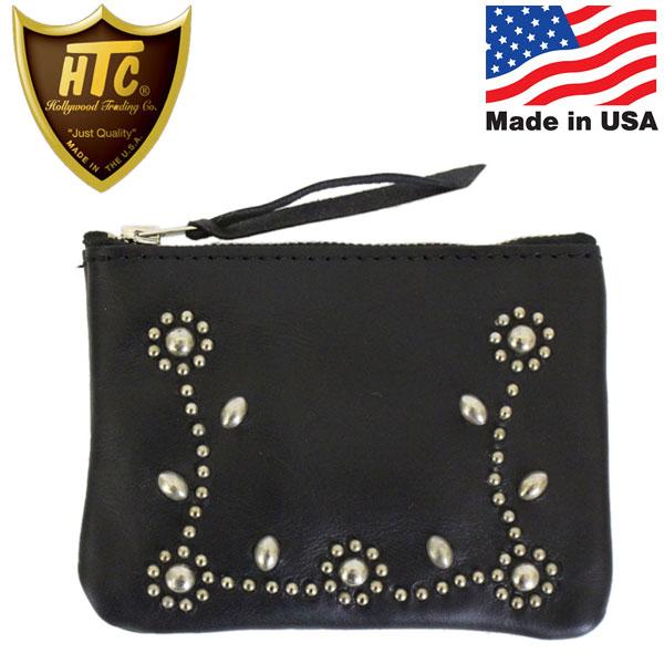 正規取扱店 HTC(Hollywood Trading Company) Pouch Wallet #SN-33 Studs ポーチウォレット ブラックレザーxシルバースタッズ