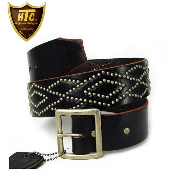 正規取扱店 HTC(Hollywood Trading Company) #DIAMOND(ダイアモンド) Studs Belt(スタッズベルト) シルバースタッズ×ブラックレザー