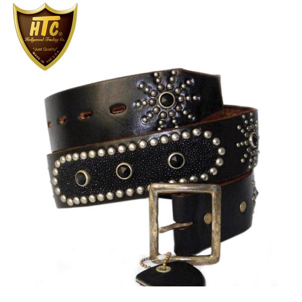 正規取扱店 HTC(Hollywood Trading Company) Oval Black Stingray Belt(オーバルブラックスティングレイベルト) ブラックレザー×ブラックラインストーン