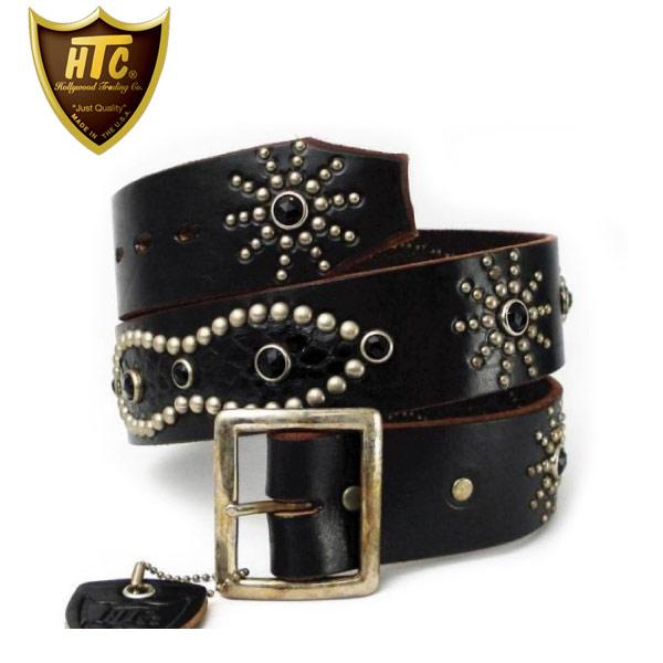 正規取扱店 HTC(Hollywood Trading Company) #53 Overlay Peanut Snake Belt(オーバーレイピーナッツスネークベルト) ブラックレザー×ブラックラインストーンx silver