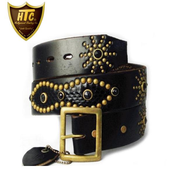 正規取扱店 HTC(Hollywood Trading Company) #53 Overlay Peanut Snake Belt(オーバーレイピーナッツスネークベルト) ブラックスネーク×ブラックストーンx brass
