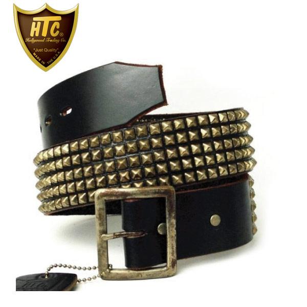 正規取扱店 HTC(Hollywood Trading Company) #14 5 row Pyramid Silver Studs Belt(5連ピラミッドシルバースタッズベルト) ブラックレザーxシルバースタッズ