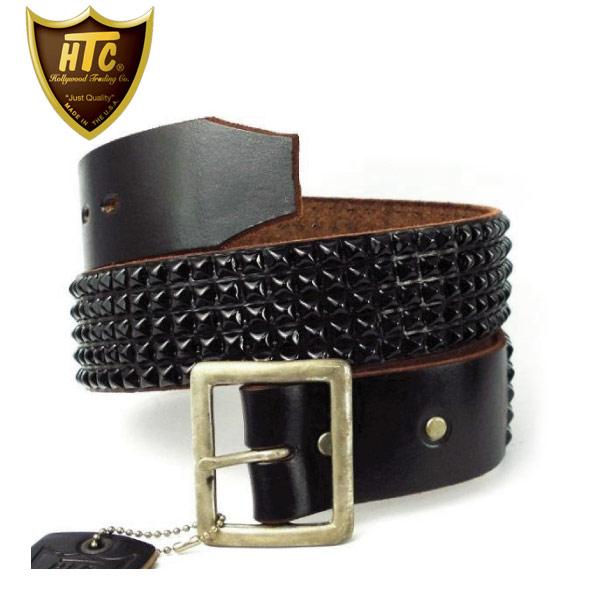 正規取扱店 HTC(Hollywood Trading Company) #14 5 row Pyramid Black Studs Belt(5連ピラミッドブラックスタッズベルト) ブラックレザーxブラックスタッズ