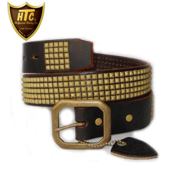 正規取扱店 HTC(Hollywood Trading Company) #14S 5 row Small Pyramid Brass Studs Belt(5連スモールピラミッドブラススタッズベルト) ダークブラウン×ブラススタッズ