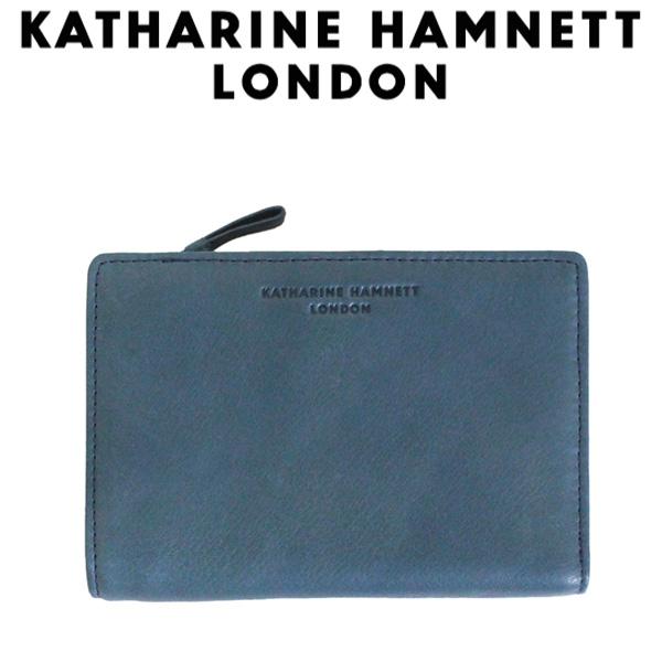 正規取扱店 KATHARINE HAMNETT LONDON (キャサリンハムネット ロンドン) 490-57004 Soft 中ファスナー付L型ファスナー ミドルウォレット 32 ブルー