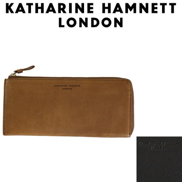 正規取扱店 KATHARINE HAMNETT LONDON (キャサリンハムネット ロンドン) 490-57005 Soft L型ファスナー 束入れ ロングウォレット 全2色