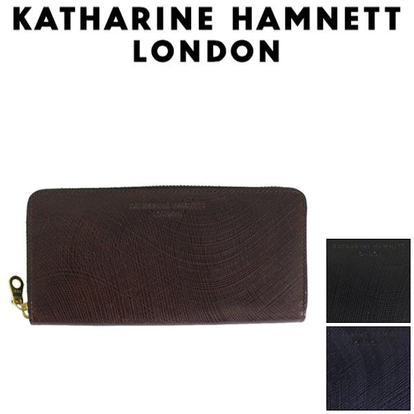 正規取扱店 KATHARINE HAMNETT LONDON (キャサリンハムネット ロンドン) 490-57305 Wave ラウンドファスナー 束入れ ロングウォレット 全3色