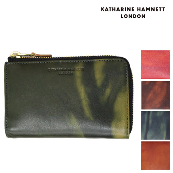 正規取扱店 KATHARINE HAMNETT LONDON (キャサリンハムネット ロンドン) FLUID ミドルBOX L型ファスナー レザーウォレット 財布 全5色
