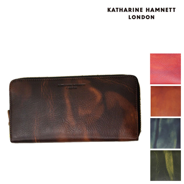 正規取扱店 KATHARINE HAMNETT LONDON (キャサリンハムネット ロンドン) FLUID RF束入れ ラウンドファスナー レザーウォレット 財布 全5色