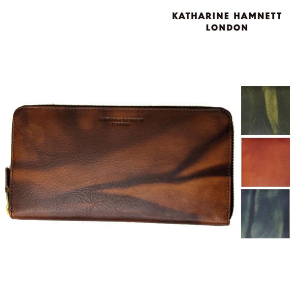 正規取扱店 KATHARINE HAMNETT LONDON (キャサリンハムネット ロンドン) FLUID RF束入れBOX ラウンドファスナー レザーウォレット 財布 全4色