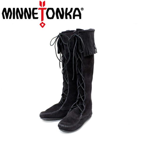 sale セール 正規取扱店 MINNETONKA(ミネトンカ) Front Lace Hardsole Knee High Boot(フロントレースニーハイブーツ)#1429 BLACK MT051