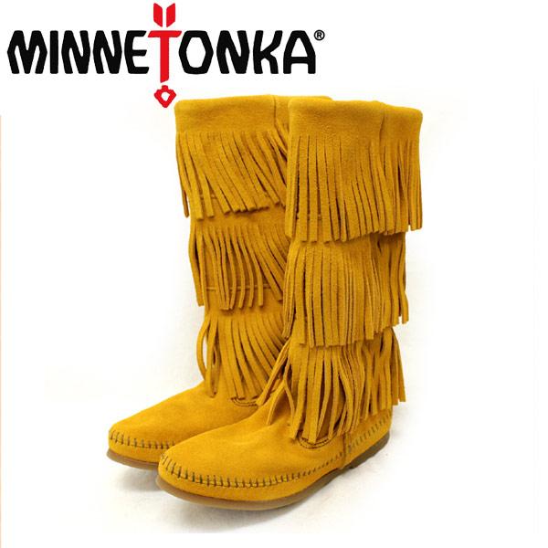 正規取扱店 MINNETONKA(ミネトンカ)Calf Hi 3-Layer Fringe Boot(カーフハイ3レイヤーフリンジブーツ)#1634F MUSTARD レディース MT085