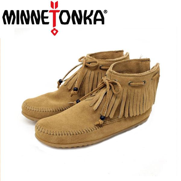 正規取扱店 MINNETONKA(ミネトンカ) Tie Fringe Ankle Boot(タイフリンジアンクルブーツ)#297K TAUPE レディース MT152