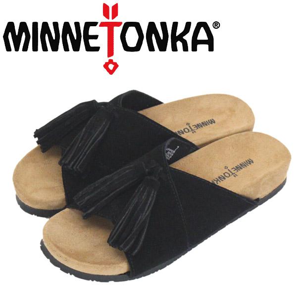 正規取扱店 MINNETONKA (ミネトンカ) 5690001 MILA ミラ レディース レザーサンダル Black Suede MT459