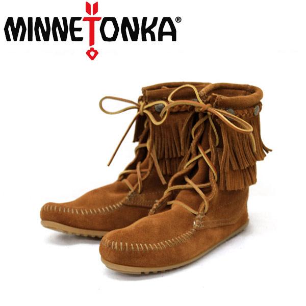 スーパーセール 正規取扱店 MINNETONKA(ミネトンカ)Double FringeTramper Boot(ダブルフリンジ トランパーブーツ)#622 BROWN MT048