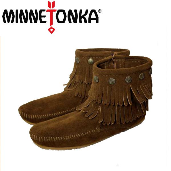 sale セール 正規取扱店 MINNETONKA(ミネトンカ)Double Fringe Side Zip Boot(ダブルフリンジ サイドジップブーツ)#693 DUSTY BROWN レディース MT033