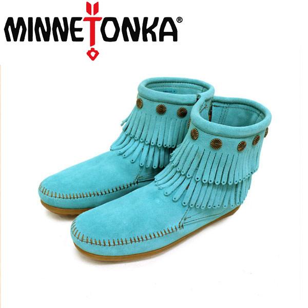 正規取扱店 MINNETONKA(ミネトンカ)Double Fringe Side Zip Boot(ダブルフリンジ サイドジップブーツ)#694S AQUA レディース MT145