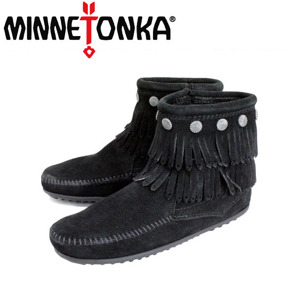 sale セール 正規取扱店 MINNETONKA(ミネトンカ)Double Fringe Side Zip Boot(ダブルフリンジ サイドジップブーツ)#699 BLACK レディース MT017