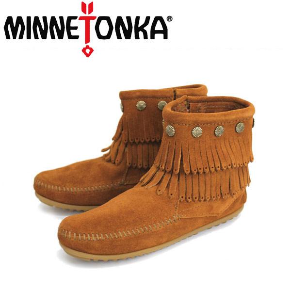 sale セール 正規取扱店 MINNETONKA(ミネトンカ)Double Fringe Side Zip Boot(ダブルフリンジ サイドジップブーツ)#692 BROWN レディース MT019