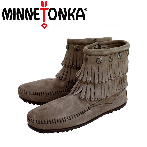 sale セール 正規取扱店 MINNETONKA(ミネトンカ)Double Fringe Side Zip Boot(ダブルフリンジ サイドジップブーツ)#691T GREY レディース MT020