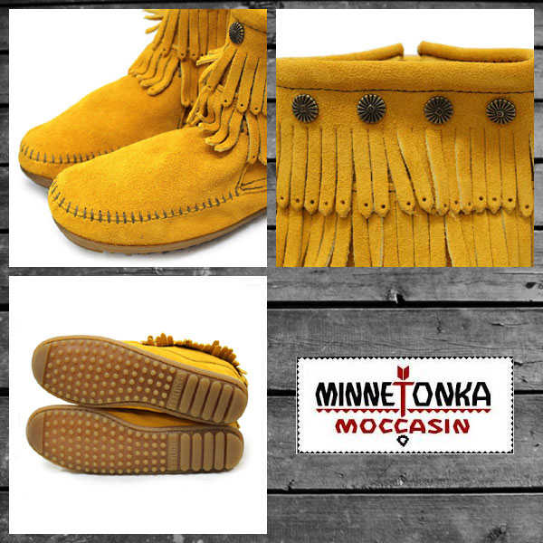 Regular dealer postage, collect on delivery fee free of charge MINNETONKA( Mine Tonka )Double Fringe Side Zip Boot( double fringe side zip boots )#694F MUSTARD Lady's MT094fs3gm