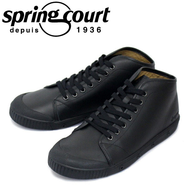 正規取扱店 spring court (スプリングコート) B2N-V5 B2 Leather (B2レザー) メンズ ハイカットスニーカー BLACK (ブラック) SPC016