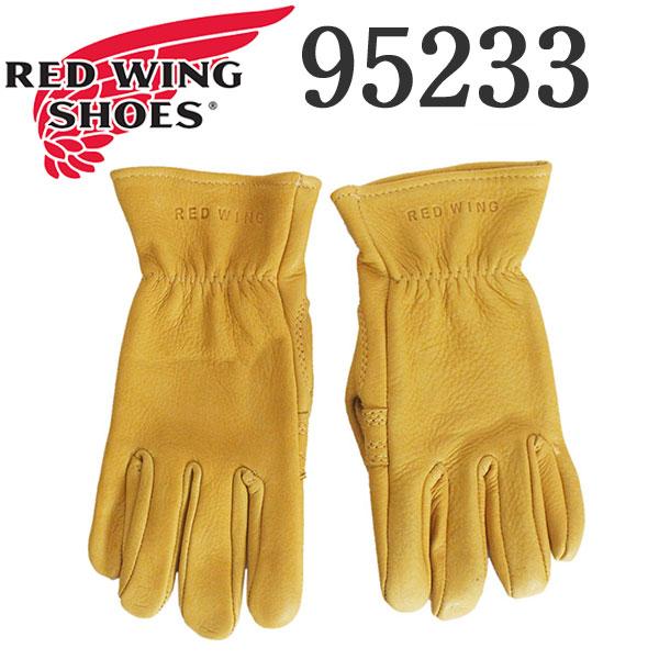 正規取扱店 2020年 新作 REDWING (レッドウィング) 95233 Leather Gloves レザーグローブ Unlined Yellow Buckskin 裏地無 イエロー 鹿革