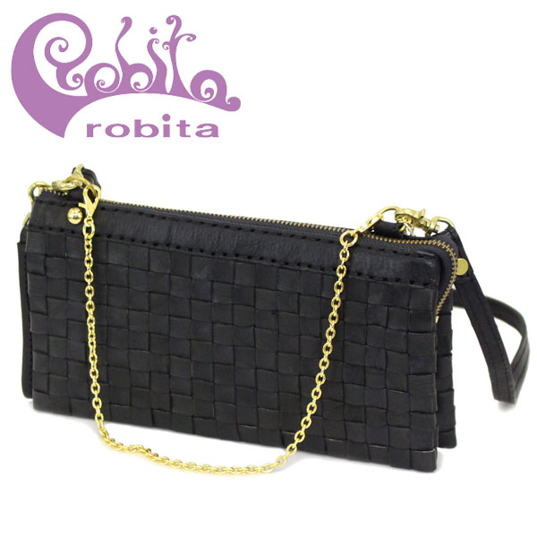 正規取扱店 robita(ロビタ) AN 078 アンティークメッシュレザー ウォレットバッグ ブラック RBT041