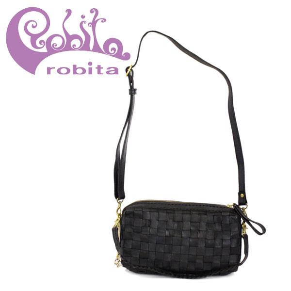 正規取扱店 robita(ロビタ) AN 172 アンティークメッシュレザーショルダーバッグ ブラック RBT044
