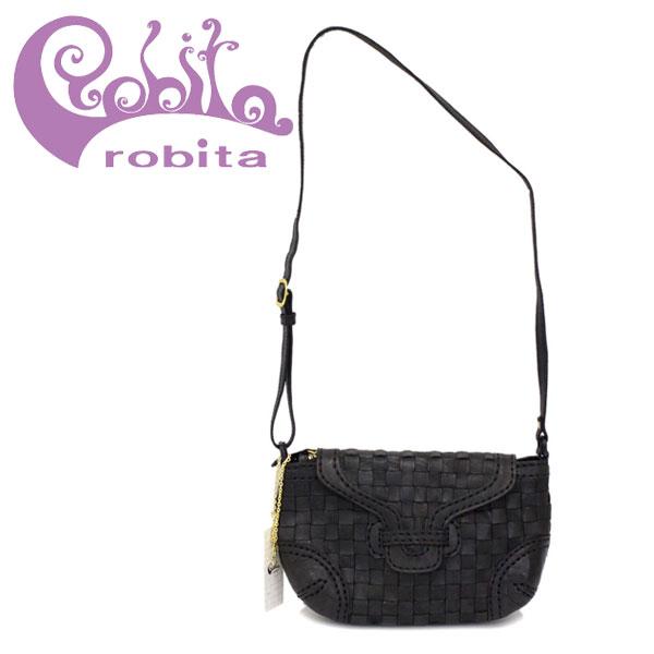 正規取扱店 robita(ロビタ) AN 211 アンティークメッシュレザー ショルダーバッグ ブラック RBT039