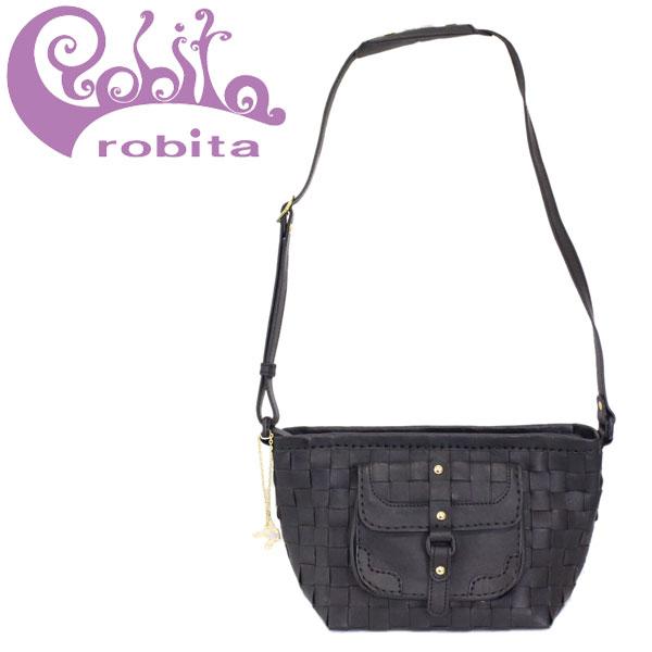正規取扱店 robita (ロビタ) AN-218 メッシュレザー ショルダーバッグ BLACK RBT049
