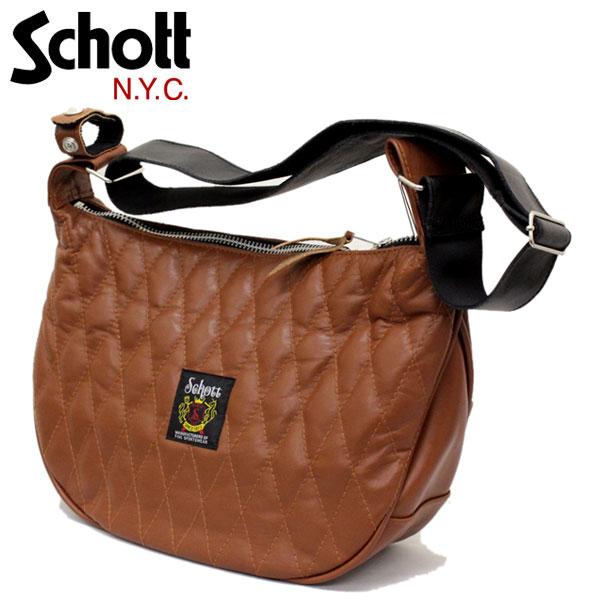 正規取扱店 SCHOTT(ショット) 3109022-055 PADDED BANANA BAG (パッデッド バナナ バッグ) BROWN ブラウン