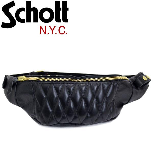 正規取扱店 Schott (ショット) 3109023 PADDED BODY BAG パデッド レザーボディバッグ 08-BLACK/GOLD