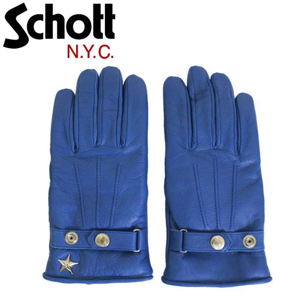 正規取扱店 Schott (ショット) 3149026 WINTER L/GLOVE SHORT ONESTAR ウィンターレザーグローブ ショート ワンスター 手袋 84BLUE