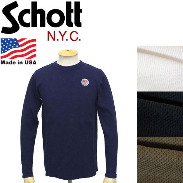 正規取扱店 Schott (ショット) 3153067 HONEYCOMB WAFFLE T-SHIRT ハニカム ワッフル サーマル ロングTシャツ 全4色