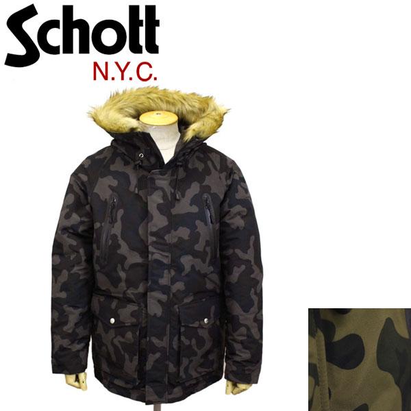 正規取扱店 Schott (ショット) 3182010 SNORKEL DOWN PARKA CAMO シュノーケルダウンパーカーカモ 全2色
