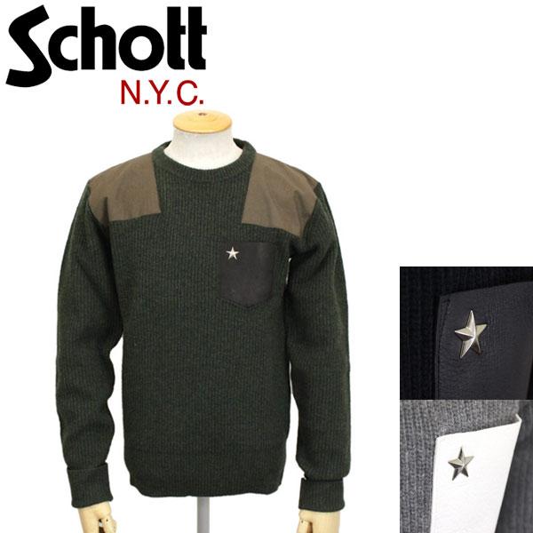 正規取扱店 Schott (ショット) 3184009 LEATHER POCKET COMMAND SWEATER CREW NECK レザーポケットコマンドセーター クルーネック 全3色