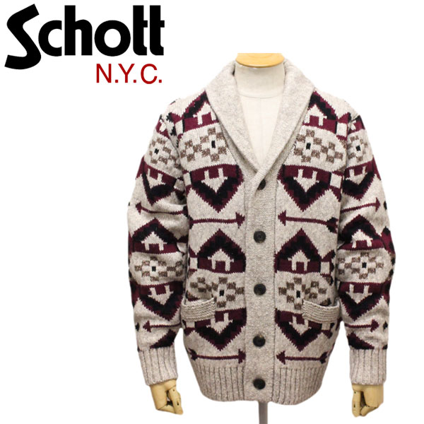 正規取扱店 Schott (ショット) 45990 SW1948 NAVAJO CARDIGAN ナバホ カーディガン 10OATMEAL