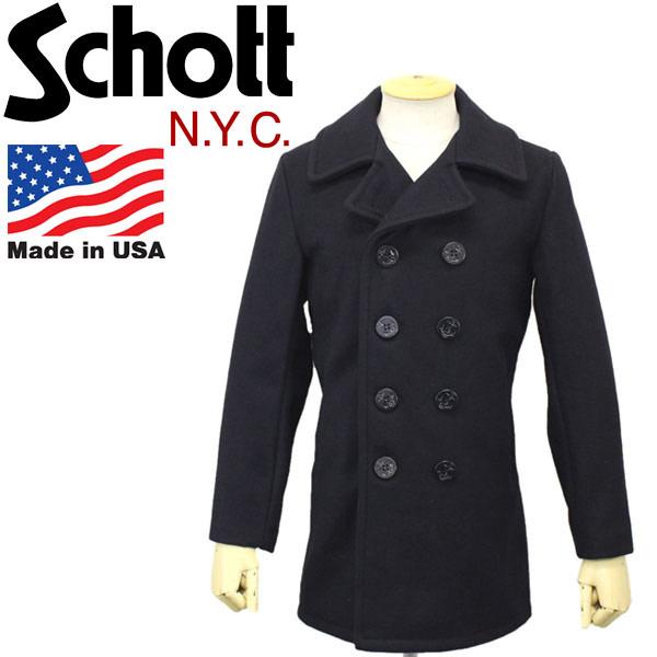 正規取扱店 Schott (ショット) 753UST MELTON PEA COAT TALL (メルトン ピーコート トール) 087-NAVY
