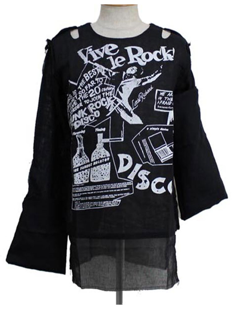 正規取扱店 666SEDITIONARIES by 666 セディショナリーズ MUSLIN TOP VIVE LE ROCK black STM0017