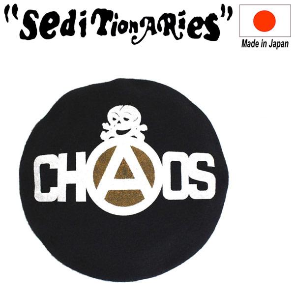 正規取扱店 SEDITIONARIES by 666 (セディショナリーズ) CHAOS+SKULL BERET (カオス+スカル ベレー帽) ブラック 日本製 STA309