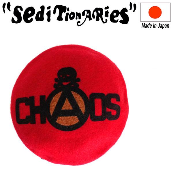 正規取扱店 SEDITIONARIES by 666 (セディショナリーズ) CHAOS+SKULL BERET (カオス+スカル ベレー帽) レッド 日本製 STA310