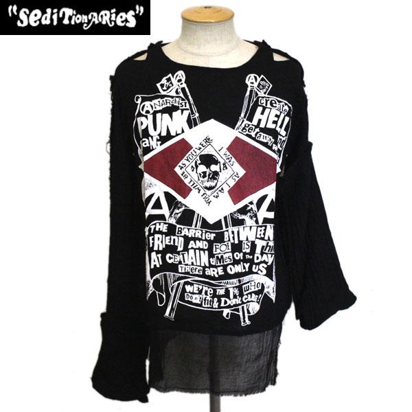 正規取扱店 SEDITIONARIES by 666 (セディショナリーズ) PUNK GANG ムスリントップ ガーゼシャツ ブラック STM0008